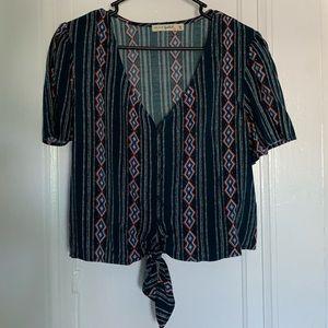 Aztec print tie crop top
